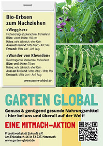 Garten Global samenfestes Saatgut Erbsen
