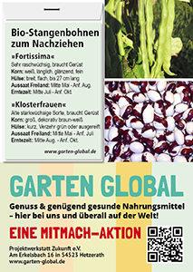 Garten Global samenfestes Saatgut Stangenbohnen